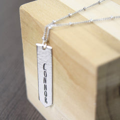 Personalized name necklace sterling silver vertical bar necklace