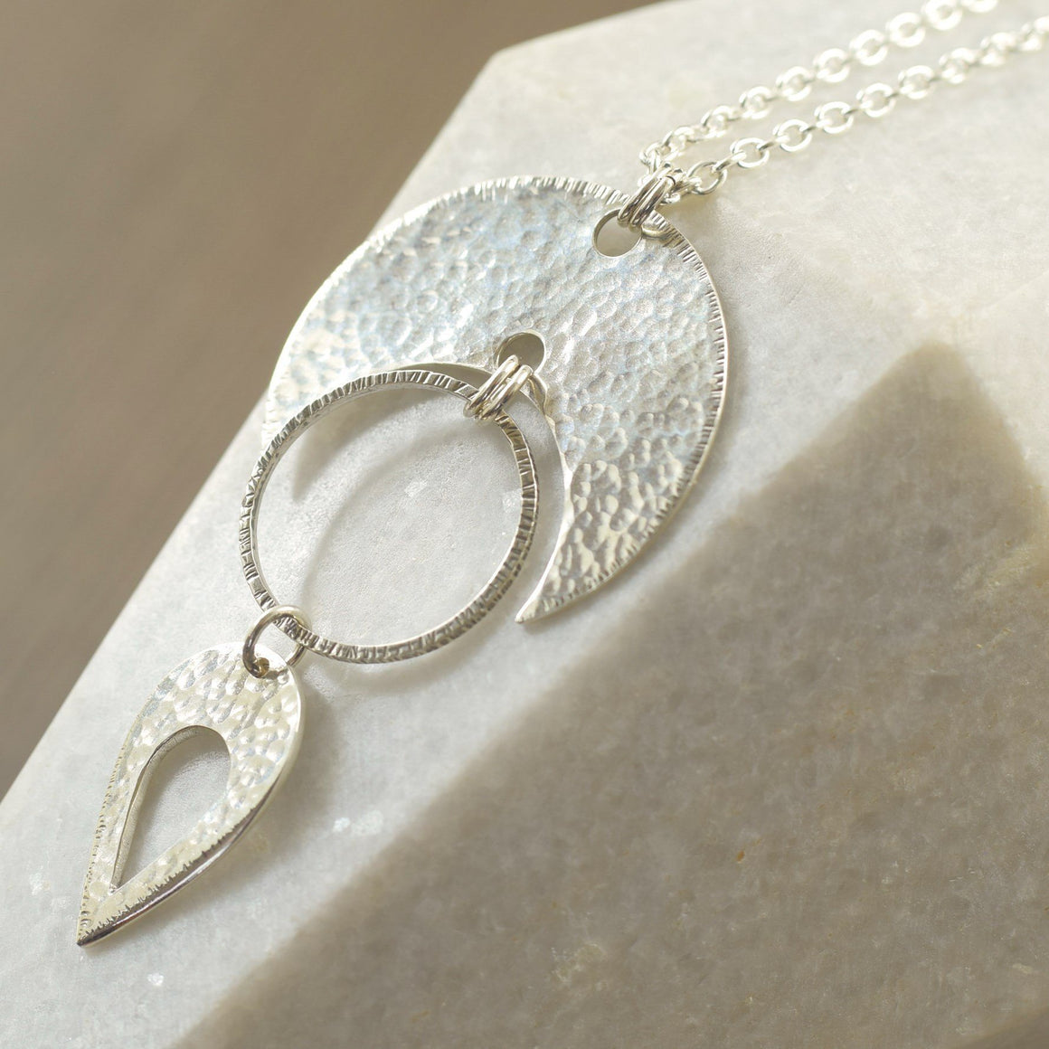 Statement necklace with hammered teardrop sterling silver Long necklace