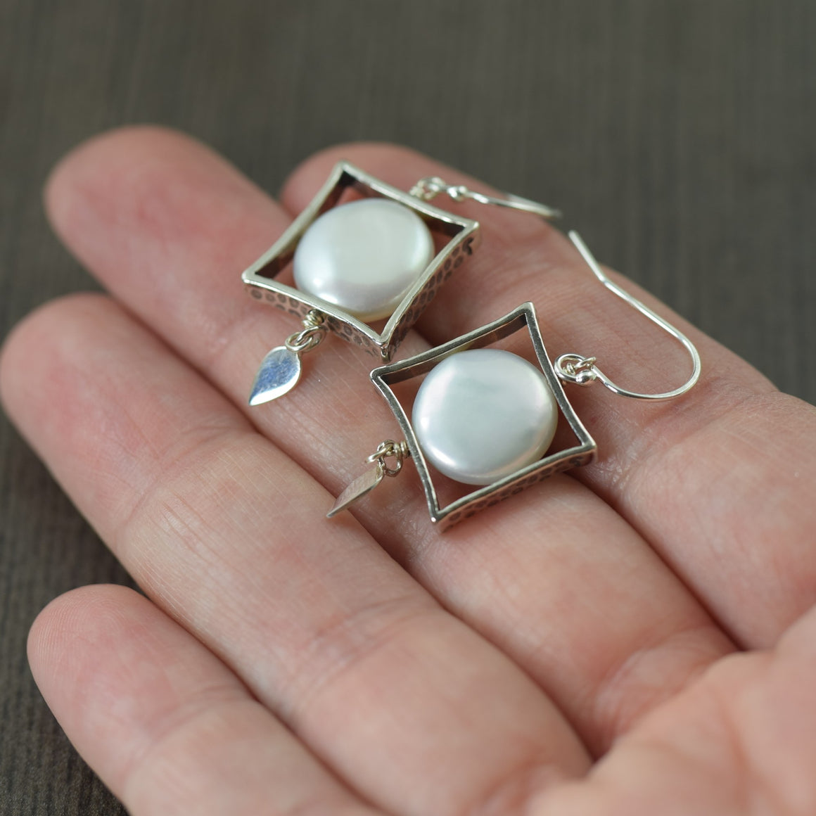 Funky White Freshwater pearl earrings in sterling silver, June Birthstone