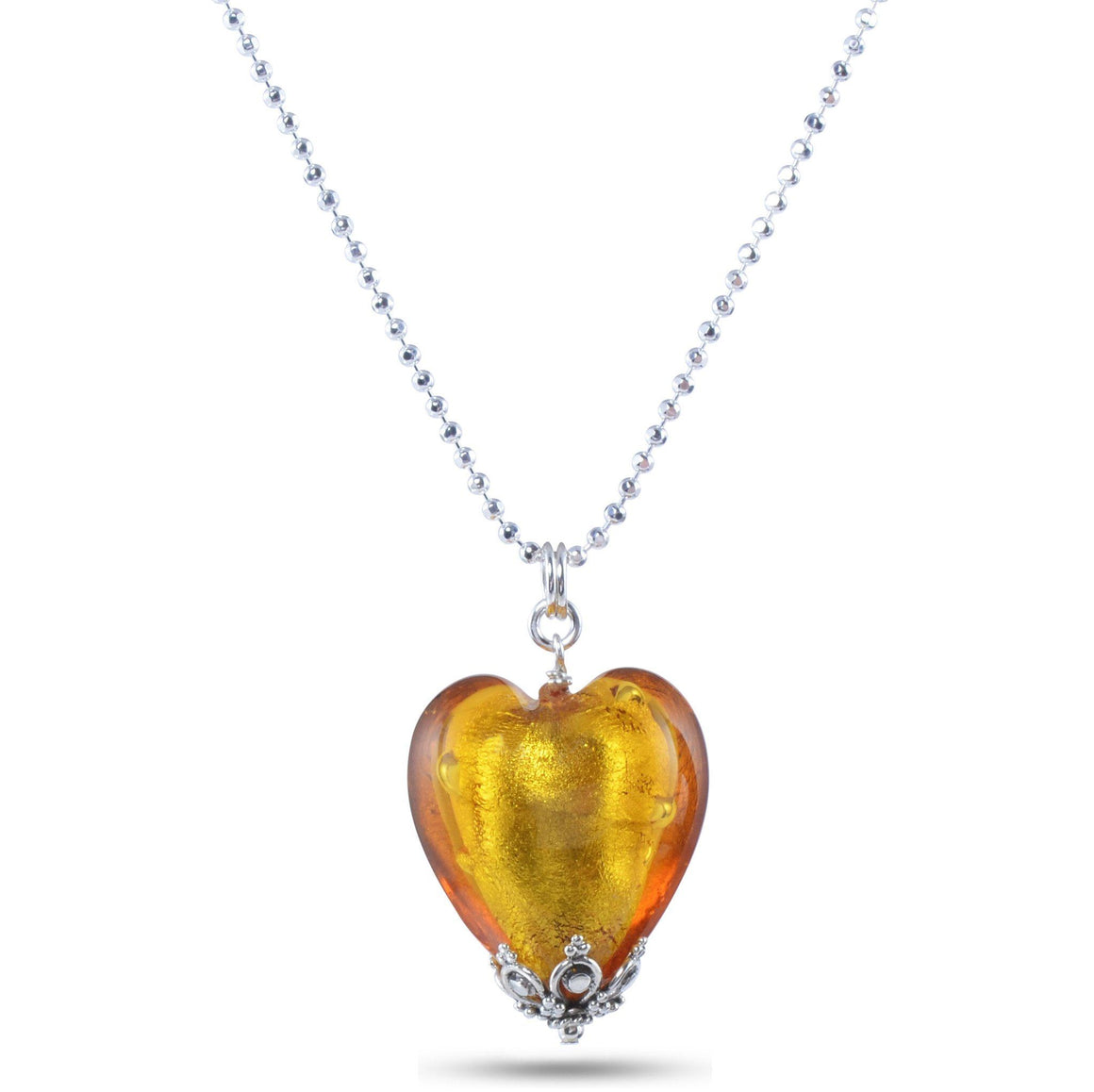 Yellow Murano Glass Heart Necklace