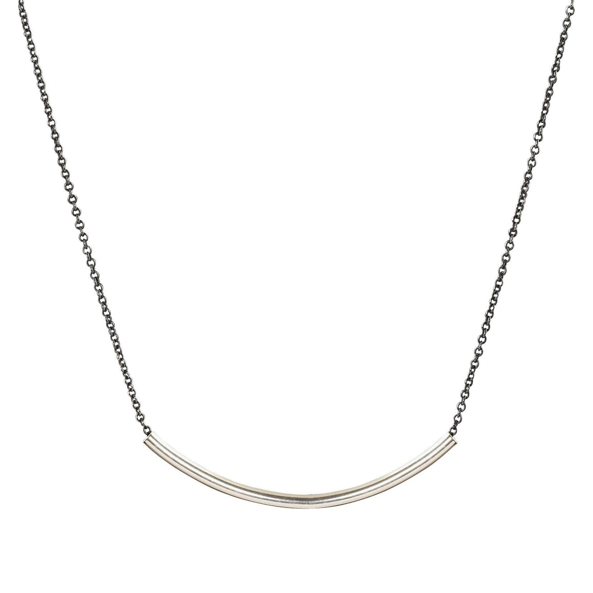 Minimalist silver sliding bar necklace on blackened chain