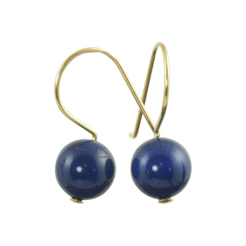 Navy Blue Swarovski pearl earrings in honor of American Red Cross