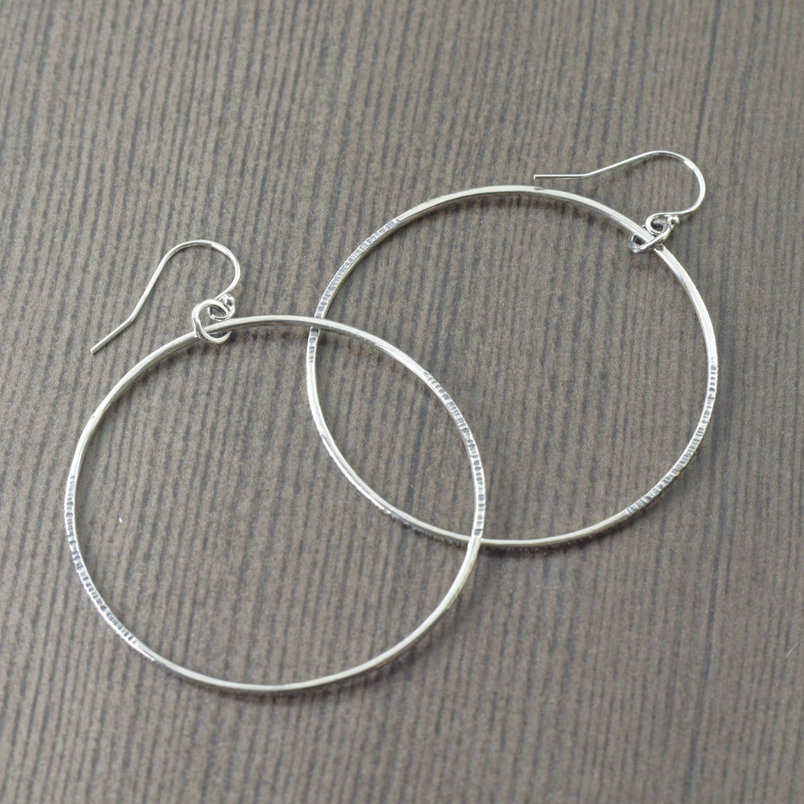 Large solid sterling silver hoops