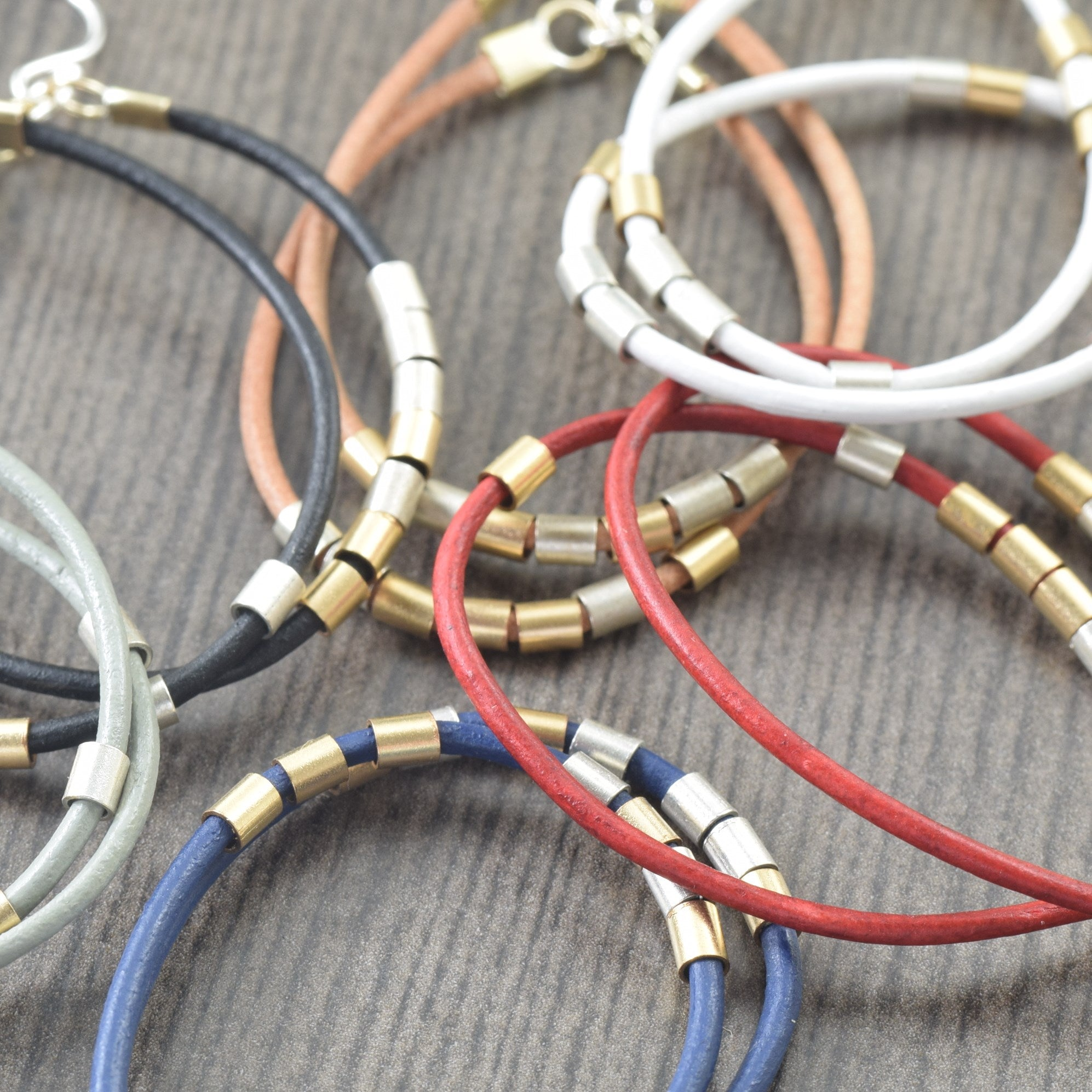 Navy Blue and White Mini Hoops with Gold Accents