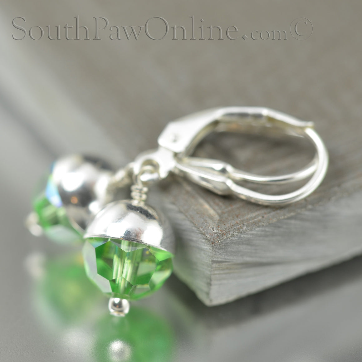 August Birthstone Swarovski Crystal Earrings in Green Peridot