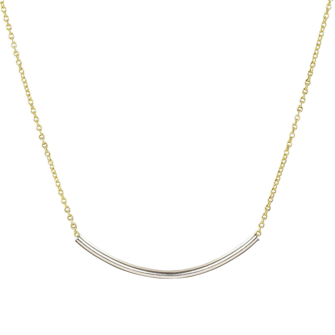 Minimalist layering necklace gold filled chain sterling silver bar