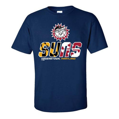Hagerstown Suns MD Flag Suns Logo Tee