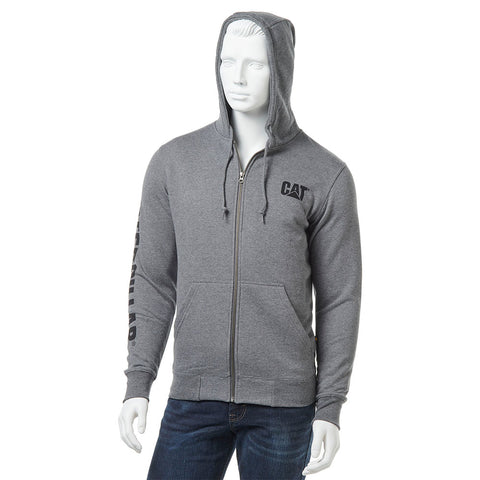 TRADEMARK BANNER FULL ZIP HOODY Dark Heather Grey
