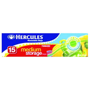 Hercules Clickzip Medium Storage Bags 15 Pack