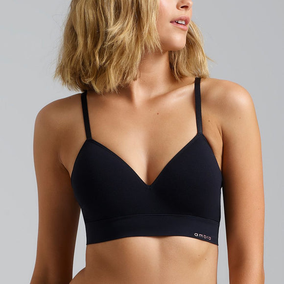 Ambra Bondi Bare Longline Bra AMUWBLBR Black Front The Lingerie Drawer