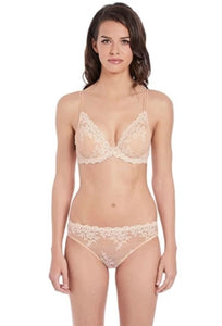 Wacoal Embrace Lace Plunge Underwire Bra 853291-271 Nude Back Crossed The Lingerie Drawer