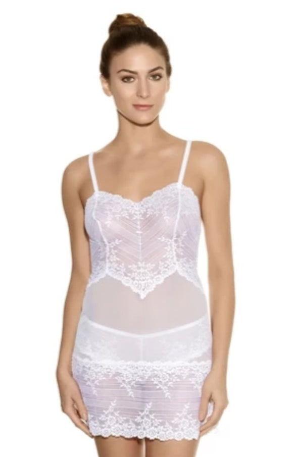 Wacoal Embrace Lace Chemise 814191-135 White Front The Lingerie Drawer