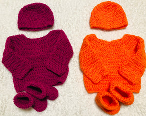 Sweater, Hat & Bootie Set
