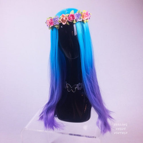 Blue to Lavender Ombre Middle Part Long Wavy Festival Party GoGo Wig