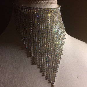 HOLO DRIP Goddess Fantasy HOLOGRAM Crystal Waterfall Choker Necklace