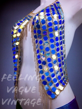 Load image into Gallery viewer, Shine Bright Iridescent Blue Mermaid Sequin Disc Burner Babe Halter Chain Bra