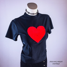 Load image into Gallery viewer, LOVE YA 90's Red Fuzzy Heart Mock Neck Top