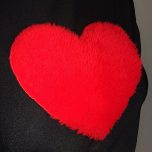 LOVE YA 90's Red Fuzzy Heart Mock Neck Top