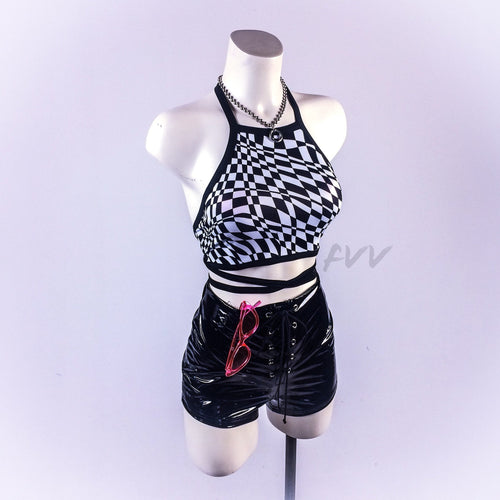 Trippy Black and White Op Art Checkered Wrap Halter Crop Top
