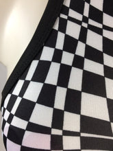 Load image into Gallery viewer, Trippy Black and White Op Art Checkered Wrap Halter Crop Top