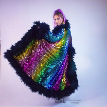 Load image into Gallery viewer, Vintage Rainbow Sequin Maxi Duster Coat