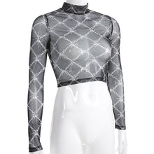Load image into Gallery viewer, 90s Barbed Wire Print Mesh Long Sleeve Mock Neck Crop Top Shirt