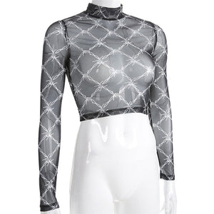 90s Barbed Wire Print Mesh Long Sleeve Mock Neck Crop Top Shirt