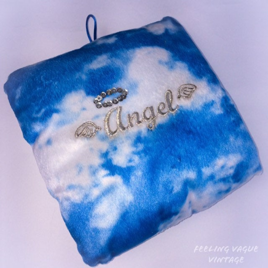 90's Angel Embroidered Cloudy Skies Baby Blue Fuzzy Cloud Photo Sleeve Pillow