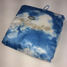 Load image into Gallery viewer, 90's Angel Embroidered Cloudy Skies Baby Blue Fuzzy Cloud Photo Sleeve Pillow