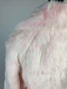 Vintage Plush Peachy Pink Faux Fur Coat // M-L