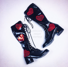 Load image into Gallery viewer, 90's does 60's Red Heart and Black or White Faux Patent Leather Lace Up GoGo Knee Boots // Custom Order your Size and Color