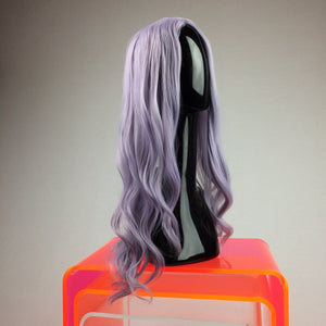 Pastel Lavender Grey Purple Middle Part Long Wavy Curly Festival Party GoGo Wig