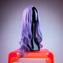 Load image into Gallery viewer, Pastel Lavender Grey Purple Middle Part Long Wavy Curly Festival Party GoGo Wig