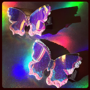 Holo Butterfly Hair Clips Set of 2