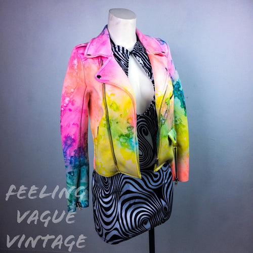 Pastel Rainbow Drippy Tie Dye Moto Jacket // S