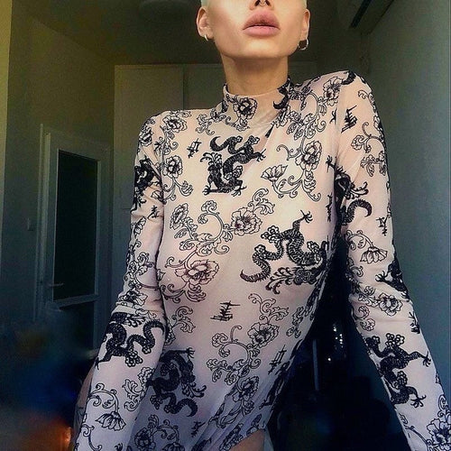 Dragon Print Black and Nude High Neck Long Sleeve Bodysuit