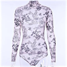 Load image into Gallery viewer, Dragon Print Black and Nude High Neck Long Sleeve Bodysuit