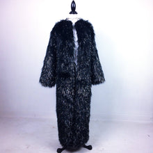 Load image into Gallery viewer, 90's Black Tinsel Glitter Maxi Faux Fur Vintage Coat