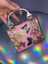 Load image into Gallery viewer, Vintage 90's Holographic Butterflies Mini Box Purse with Metal Hardware