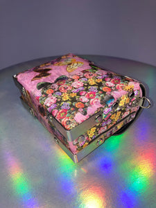 Vintage 90's Holographic Butterflies Mini Box Purse with Metal Hardware