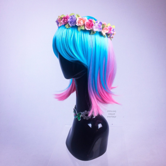 Cotton Candy Pink and Blue Festival Party GoGo Bob Wig with Bangs