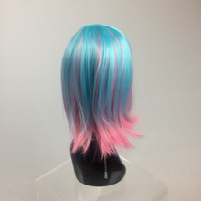 Load image into Gallery viewer, Cotton Candy Pink and Blue Festival Party GoGo Bob Wig with Bangs