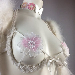 90's Angelic White Daisy Pasties Underwire Lace Bra