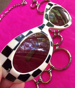 Vintage Mod Op Art Round Cobain Black and White Checker Print Sunglasses made in Italy