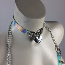 Load image into Gallery viewer, 90 Holo Heart Choker Necklace with Key