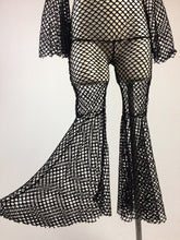 Load image into Gallery viewer, Dark Disco Fishnet Flare Bell Sleeve Jumpsuit