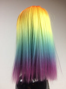 Rainbow Ombre Gorgeous Straight Wig with Bangs