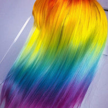 Load image into Gallery viewer, Rainbow Ombre Gorgeous Straight Wig with Bangs