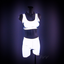 Load image into Gallery viewer, FLASH Crop Top and Shorts Set - Sporty Spice Reflective Silver Mid Thigh shorts and Crop Top Workout Sports Bra