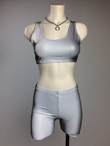 FLASH Crop Top and Shorts Set - Sporty Spice Reflective Silver Mid Thigh shorts and Crop Top Workout Sports Bra
